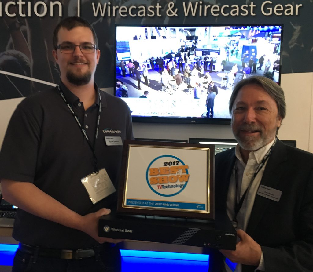 Accepting the award for Best of Show at NAB for Wirecast Gear