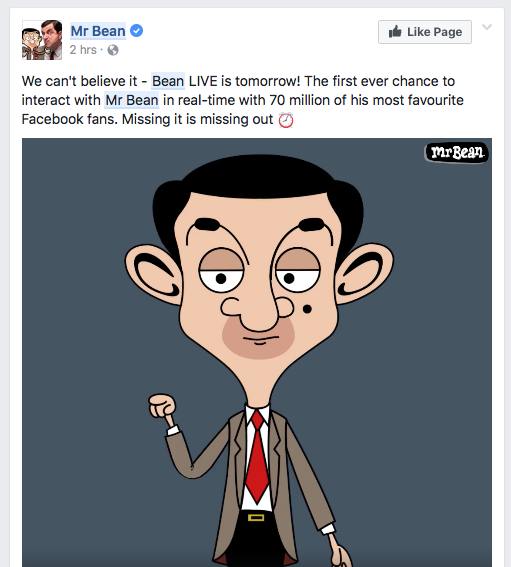 Mr Bean is streaming live to Facebook Live using Adobe Character Animator and Wirecast