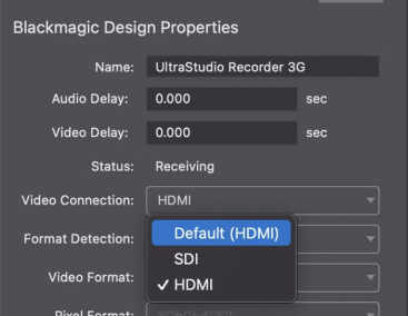 Wirecast 14.2 Blackmagic input selector